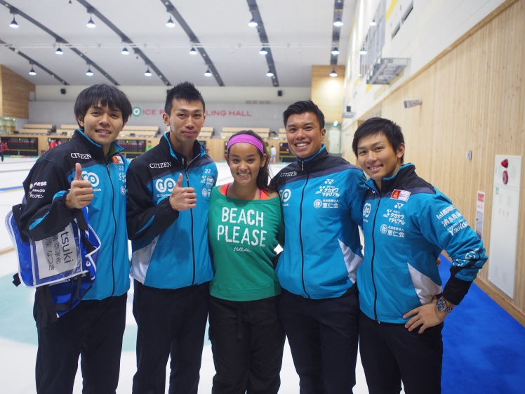 Me with four of the Japanese National Curlers!