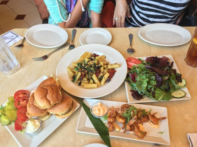 Fried chicken sliders, Evelyn's pasta, Bang Bang shrimp, and a side of house salad from the Cheesecake Factory- Fashion Island, Newport