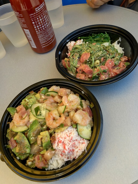 Poke bowls (bottom) with shrimp, tuna, garlic miso sauce, cucumber, avocado, mock crab salad, and fried onions. (Top) with scallops, tuna, TPP sauce, spring onions, and seaweed salad-The Poke Place, Rancho Cucamonga