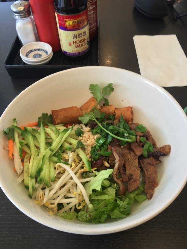 Grilled Pork Rice Vermicelli with an egg roll- Pho Ha Vietnamese Restaurant, Pomona