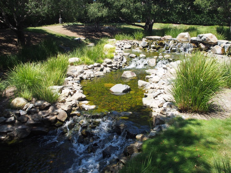 beautiful water running through an even more beautiful garden- DreamWorks Animation Studios, California