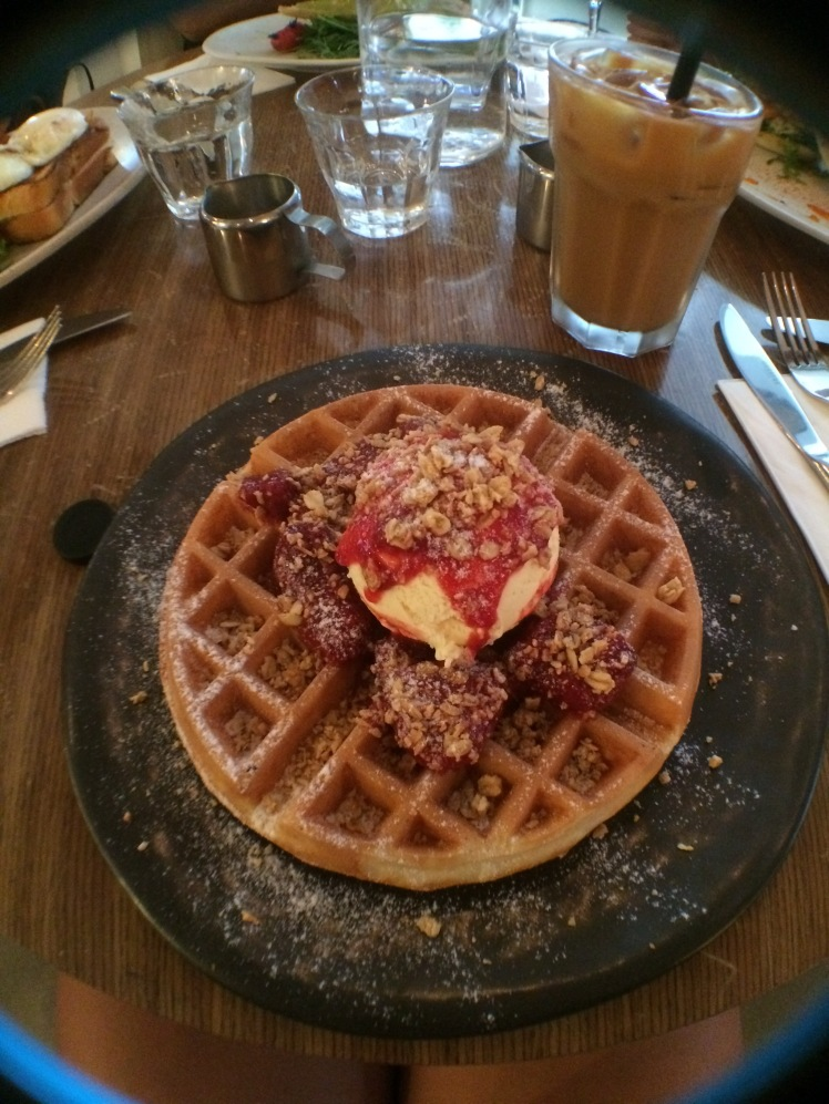 Vanilla Infused Strawberry Compote Buttermilk Waffles
