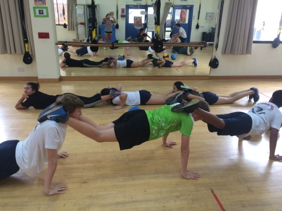 Students trying the push-up chain challenge!