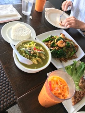 Getting my Thai fix on. Green curry with chicken, Thai toast, Pad See Ew and some yummy Thai Iced Tea// Nine & Nine, Pasadena California