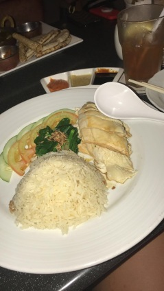 One of the first meals back in Singapore, of course, was the Singapore- famous Hainanese Chicken Rice// The American Club, Singapore