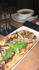Basil, chicken, blue cheese and honey flatbread// Granville, Glendale Galleria
