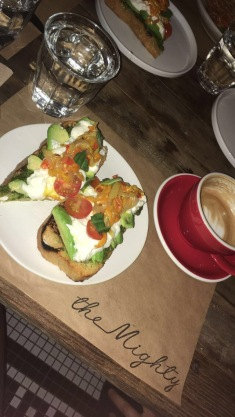 The BEST avocado toast I've ever had in my life. Brioche with avocado, burrata, cherry tomatoes, roasted peppers and a pesto spread// The Mighty, LA, California