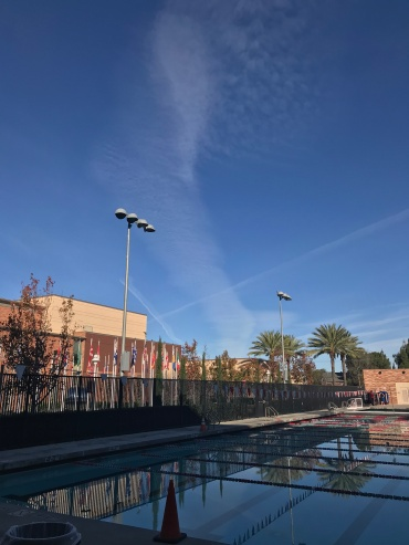 First swim meet of the year and couldn't have asked for a more perfect view// Chapman University