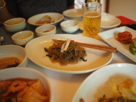 A beautiful plate of japchae, one of the dishes at the Imperial Korean restaurant.