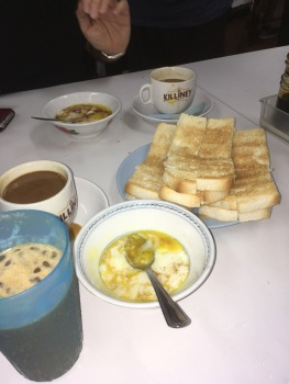 Kaya toast and a soft boiled egg.