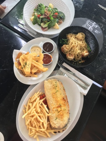 Salad Nicoise, king prawn spaghetti, croque monsieur and PS fries.