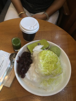 Green tea Bingsu for an afternoon treat.
