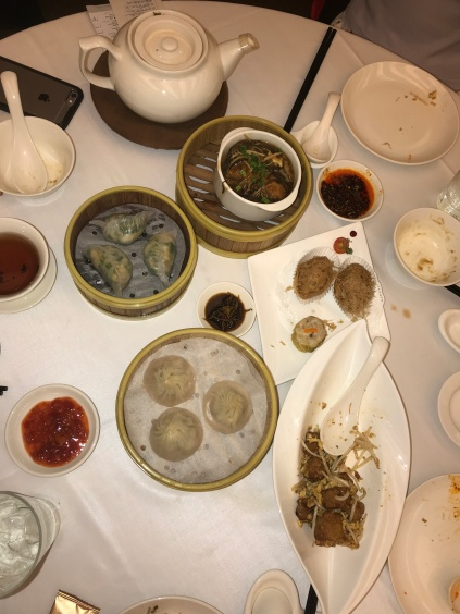 An assortment of dim sum for lunch (half eaten because we were so hungry we forgot to take a picture, haha!).