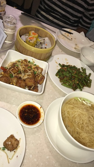 Siew mai, stir-fried green beans, wanton noodle soup and pan fried carrot cake with XO sauce.