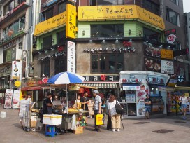The middle of the packed Myeongdong district.