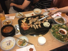 All blissed out, we had lots of kimchi and other Korean dishes at a Korean BBQ restaurant.
