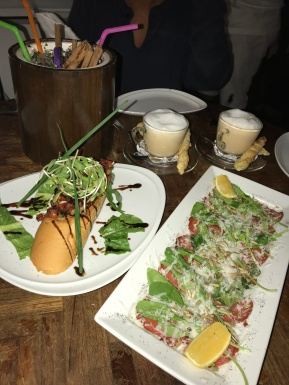 lobster cappuccino, bruschetta and beef carpaccio