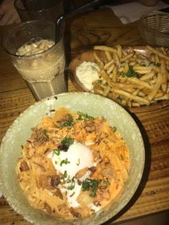 Fusion at it's finest: kimchi carbonara, truffle fries and an iced toffee nut latte//Stateland, Bali Lane