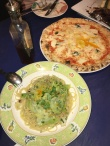 Bottarga and Cabbage spaghetti and a simple Margherita pizza from Trattoria Italia in Meguro.