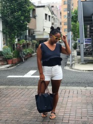 Cotton On navy blue ruffled tank top, H&M white jean shorts, yellow Kate Spade sunglasses and a navy blue tote.