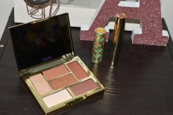 Glam on the Go eyeshadow palette, Maneater mascara and Glide and Go lipstick