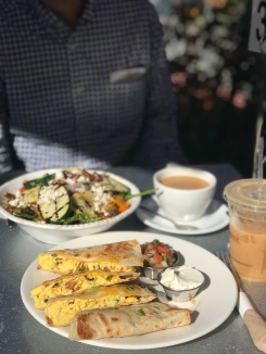 My absolute go-to brunch spot in the area. Breakfast quesadilla and a grilled veggie salad//Jane on York, Eagle Rock