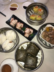A little bit of home for Sunday brunch. Dim Sum consisting of siew mai, sticky rice, pork bao, spare ribs in black bean sauce and roast pork//Longo's Seafood Restaurant, Rosemead