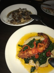 Grilled octopus with white beans and kale and sauteed mushrooms with truffle butter and polenta... I don't even know what to say, but I'm drooling right now//Union, Pasadena