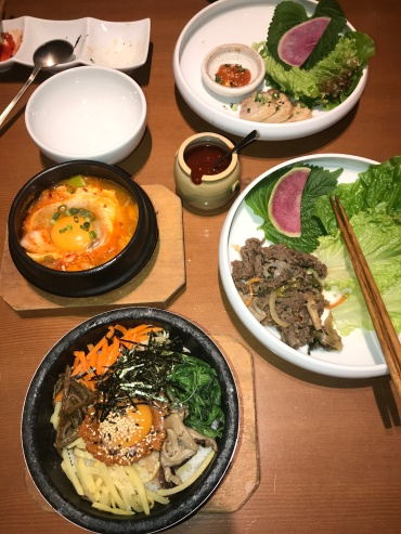 Beef bibimbap, grilled beef, yukgaejang and roasted pork, Korean style for the best lunch // Suran je, Shinjuku