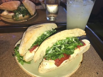 The simplest but most delicious of late lunches after a day full of retail therapy. Caprese sandwich with tomatoes, mozzarella, arugula and garlic aioli with a mint lemonade // Tender Greens, Pasadena