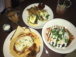 Stunning brunch spread with the fam before they headed back home. Cajun shrimp with cheesy grits, chilaquiles with two fried eggs and eggs benedict // The York, Eagle Rock