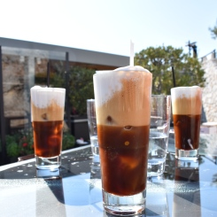 Iced coffees at the top of Lykavittos.