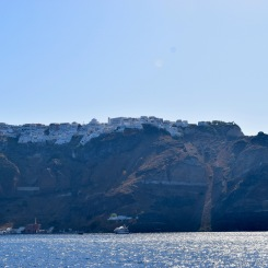 Riding into Santorini.