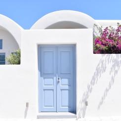 Baby blue doors.