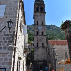 The clock tower of old town Kotor.